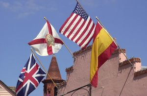 Historic flags in St. Augustine, Florida