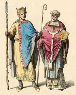 Holy Roman Emperor Heinrich II and a bishop