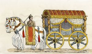 Horse-drawn carriage in ancient Rome