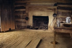 Interior of slave cabin where Booker T. Washington was born