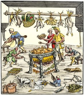 Italian cooks preparing a meal, 1500s