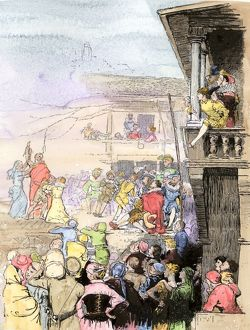 Itinerant actors performing in an inn yard, Elizabethan England