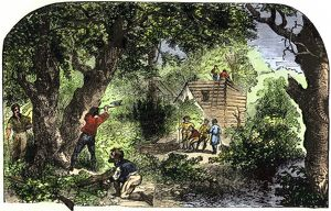 Jamestown colonists building homes, 1607