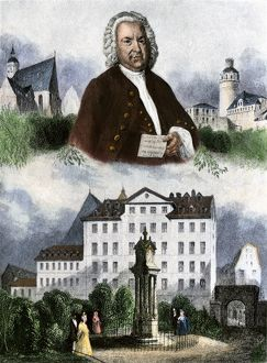 Johann Sebastian Bach, with scenes from his life