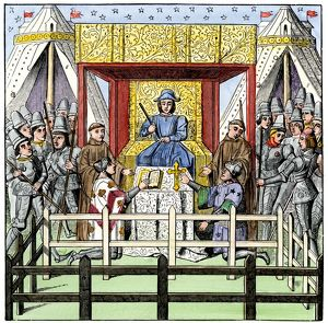 Judge and courtroom in the Middle Ages