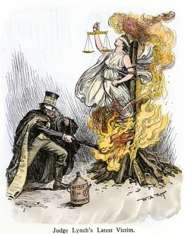 'Judge Lynch' burning justice, cartoon of 1901