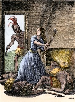 Kentucky woman fighting off Native Americans, 1791