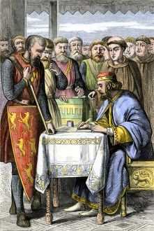King John endorsing the Magna Carta, 1215