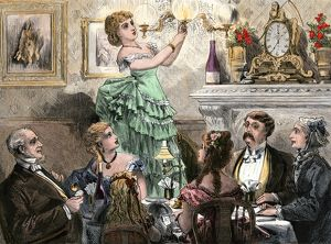 Lighting the gas lamps for a dinner party, 1800s