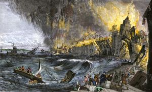Lisbon destroyed by earthquake and tsunami, 1755