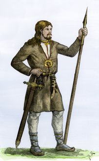 Man dressed in traditional Celt or Finnish attire