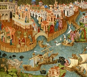 Marco Polo leaving Venice, 1300s