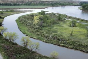 Marias River joining the Missouri River, Montana