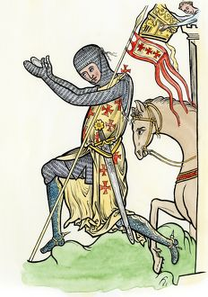 Medieval knight bowing before his lord