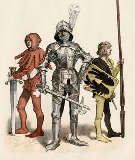 Medieval knight with his page and squire