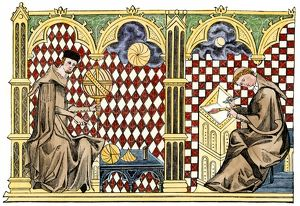 Medieval monks studying geometry and copying a manuscript