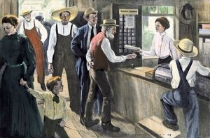 Meeting the new postmistress, early 1900s
