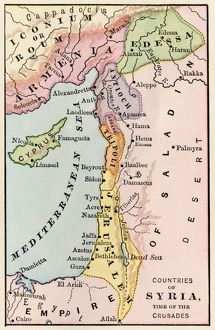 Mideast map during the Crusades