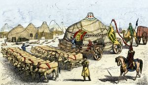 Mongol nomads moving camp