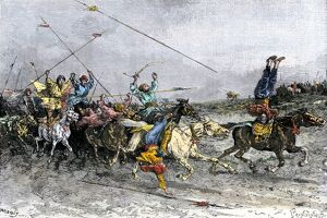 Mongol soldiers demonstrating their horsemanship