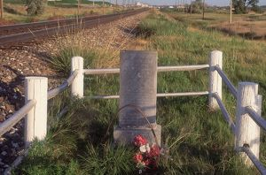 Mormon Trail pioneer grave by the transcontinental railroad, Nebraska