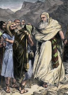 Moses parting from his people, who will enter the Promised Land