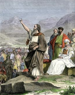 Moses reciting the Ten Commandments