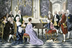 Mozart and his sister playing for Empress Maria Theresa