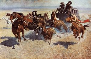 Native American attack on a western stagecoach