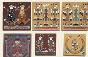 Navajo sand paintings preserved on tiles