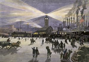 New Orleans docks under electric lights, 1880s