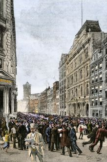 New York financial district during a crisis, 1800s