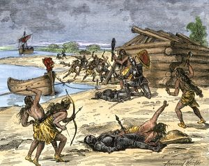 Norse settlers in battle with New World natives