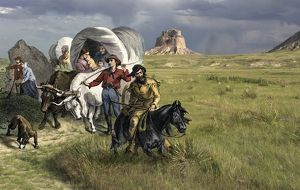 Oregon Trail pioneers on the Great Plains