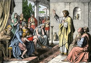 Peter preaching in the house of Cornelius