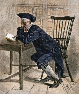 Philadelphia colonist reading in the old library, 1700s