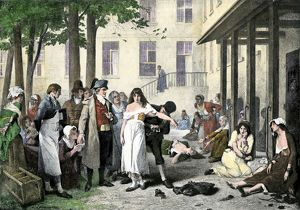 Pinel releasing mental patients from shackles in France, 1796