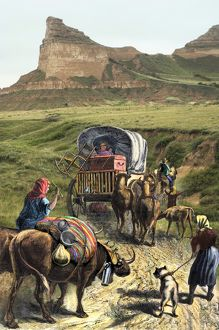 Pioneer family on the Oregon Trail