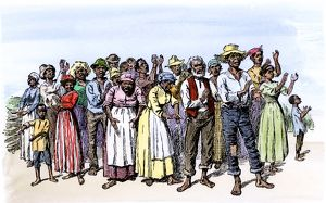 Plantation slaves singing and clapping