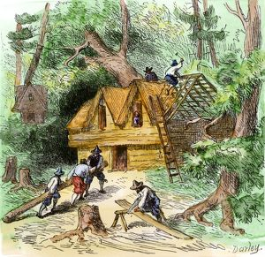 Plymouth colonists building homes