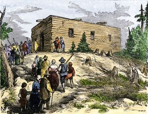 Plymouth colonists going to church