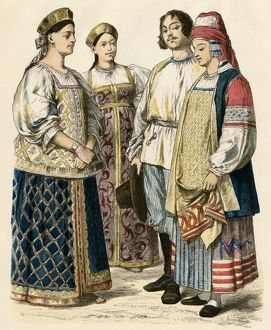 Polish women and a Russian couple, 1800s
