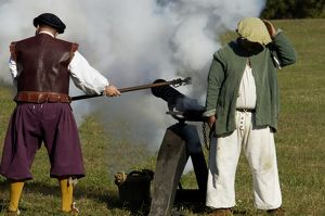 Portuguese swivel gun fired by reenactors