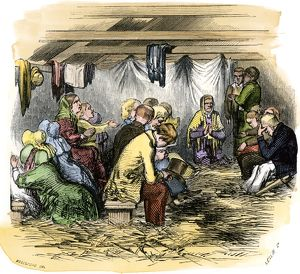 Prayer meeting in a tent, 1850s