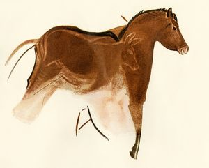 Prehistoric cave art of a horse with foal, Altamira, Spain