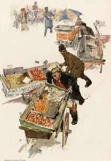 Pushcarts of fruit vendors in New York City