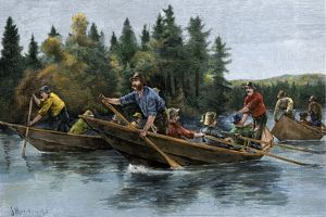 Racing heavy canoes on a northern river, 1800s