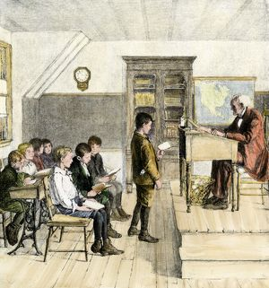 Reading lesson in a 19th-century classroom