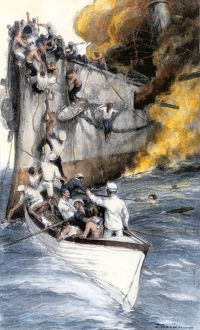 Rescue of a Spanish crew by American sailors, Battle of Santiago
