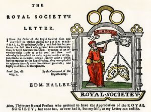 Royal Society endorsement of a lens-grinder, 1600s